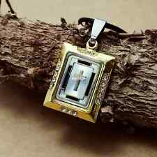 Personality Stainless Steel Golden Square cross pendants necklacee TX150