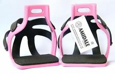 ALUMINIUM ENDURANCE FLEX RIDE CAGED SAFETY HORSE STIRRUPS PINK 4.00 AMIDALE
