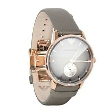 100% Authentic Emporio Armani Retro AR1723 Rose Gold Leather Band Grey Watch