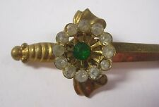 Vtg Estate SWORD w/ CLEAR & GREEN RHINESTONES Brooch Pin Stick Gold Tone Antique