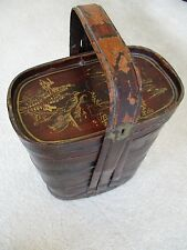 ANTIQUE BASKET CHINESE CHINOISERIE FISHERMAN'S BAMBOO LUNCH BOX CHINA 1700-1800s