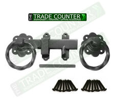 Quality Metal Twist Ring Gate Latch Set inc Screws Large Black Door Garden Catch