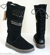Bearpaw Silverthhorne Tall Shearling Winter Boots Women's 7 Black EXPEDITED MAIL