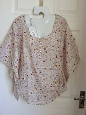 LABEL LAB woodstock MULTI FLORAL CREAM BLOUSE angel wing sleeves BNWT NEW Size 6