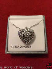 Heart Photo Charm Pendant Locket with Cubic Zirconia Keepsake Silver Necklace