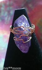 HANDCRAFTED WIRE WRAP QUARTZ POINT HIPPY RUSTIC BOHO GEMSTONE RING U1/2 10 255B