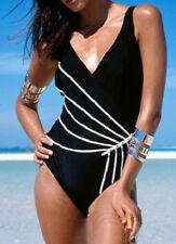 Badeanzug Gr. 36 schwarz figurformend mit Streifen in weiß Damenbadeanzug
