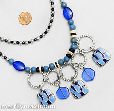 Chico's Signed Silver Tone Long Chains Rings Necklace Cobalt Blue Ivory Color