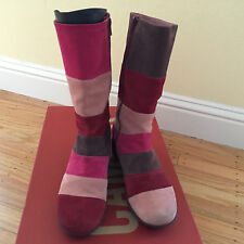CAMPER TWINS Boots Pink Red Suede Leather Rayas Sz 38/7.5/7/8 Heel Shoes Wedge