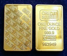 LINGOTTO CREDIT SUISSE ONE OUNCE IN FINE GOLD 999 PLACCATO ORO 24k DA COLLEZIONE