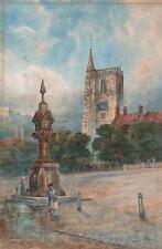 St james church bristol antique aquarelle w w hodges c1890