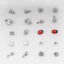 USA Seller 20 Nose Studs Ladybug Star Dolphin Sterling Silver 925 Body Jewelry