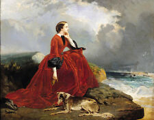 Art Oil painting Hand painted young noblelady in red dress & dog by the ocean