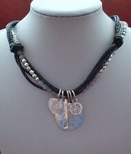 Antiqued Silver Good Luck Charm Pendant Necklace with Brown Multi Cord Gift Idea