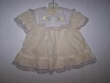 VINTAGE BABY GIRL FLORAL DESIGN DRESS WITH LACE SIZE 18 MONTHS (FOR LARGE DOLL)