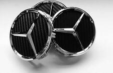 4 X Mercedes Benz 75mm Centre Caps Alloy Wheels Chrome/CARBON AMG/SL/C/E/S/A