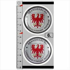Brandenburg​​​ set of 2 German Number Plate Seal Stadt 3D Domed Sticker Badge