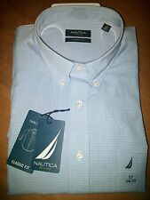 NAUTICA MENS DRESS SHIRT Classic Fit Blue Plaid long sleeves Sz 17 34/35 orig$65