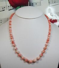 Genuine Natural Pink Coral Necklace With 14K GF Clasp. Graduated. MCR012