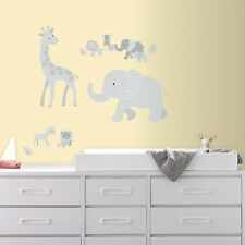 Giant BABY SAFARI ANIMALS WALL DECALS Elephants Giraffes Stickers Nursery Decor