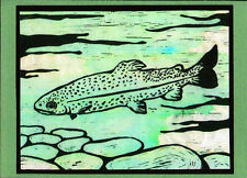 5 Handmade Rainbow Trout Fish Note Cards on Sage Green Paper with Envelopes