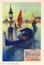 Paris to Venise Vintage French France Poster Picture Print Advertisement