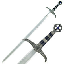 """NEW! 41"""" Black & Silver Medieval Long Sword Cast Metal Design with Wooden Plaque"""