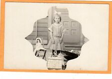 Real Photo Postcard RPPC - Girl with Doll Toys and Tea Set - Shaped Border