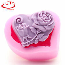 DIY Heart Rose Flower Cake Mold Soap Silicone Mold Flexible Chocolate Candy Mold
