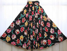 Vtg 80s 50s Pleated Floral Big Flowers Near Full Circle Skirt Boho Party