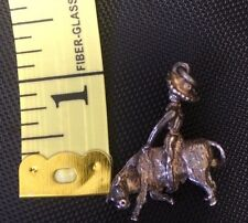 Antique Vintage Sterling Silver 925 Necklace Pendant Charm Rodeo Bucking Bronco