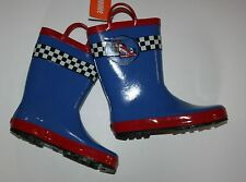 New Gymboree Race Car Blue Rain Boots Size 11 Kid NWT Everyday All Star Water