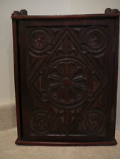 ANTIQUE WALNUT CARVED DOOR MEDICINE CABINET HANGING WALL CUPBOARD FLEUR DE LIS