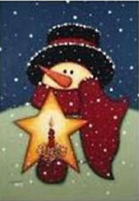 "Snowman Candle Winter House Flag Star Large Seasonal Yard Banner 28"" x 40"""