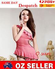 Women Sexy Lingerie Baby Doll Mini Dress T-Back Silk Feel Underwear SIZE6-12
