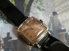 SERVICED 1930`S HELBROS....RARE ROSE GOLD FILLED ART DECO STEPPED STEPPED CASE