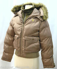 Polo Puffer Brown Jacket zip coat Hooded US U.S. POLO USPA  Hood winter crop M