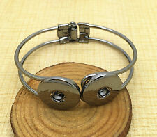 NEW Jewelry Black Round bracelets fit for noosa snaps chunk charm button PHA05