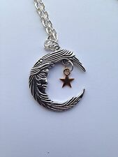 Moon Goddess large Crescent Moon Silver Gold Star  Pendant Necklace 18""