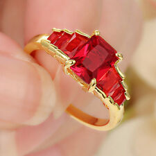 Red Ruby Big Stone Engagment Ring 10KT Yellow Gold Filled Wedding Band Size 6