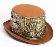 SteamPunk Cosplay Victorian Style Deluxe Brown Top Hat with Gear Wrap NEW U