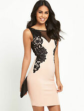 BNWT LIPSY *NEW SEASON* DUSTY PINK WITH BLACK LACE APPLIQUE SIZE 16 RRP £68