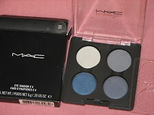MAC QUAD EYESHADOW BLUE GREY X4 THE RIGHT SMOKE WAFT WARMER WHITE NEW NWOB