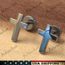 2pcs Silver Cross Earrings Stainless Steel Mens Womens Ear Stud Earrings Gift