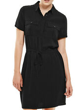 M&S Collection - BLACK twin-pockets drawstring SHIRT DRESS - uk 18 - bnwt £45