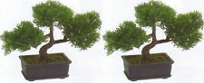 "2 ARTIFICIAL 9"" CEDAR BONSAI TREE TOPIARY IN OUTDOOR PLANT POOL PATIO HOME DECOR"