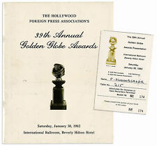 Golden Globe Awards Ticket & Program From The 39th One