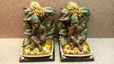 RARE MILSON & LOUIS VINTAGE MONKEY IN FEZ & VEST SITTING ON PILLOW BOOK ENDS