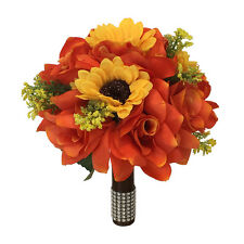 "9"" wedding bouquet - orange roses and yellow sunflowers - Artificial Flowers"