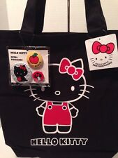 Sanrio 35th Anniversary Hello Kitty Black Canvas Tote Bag w/ Bonus Pins - RARE!